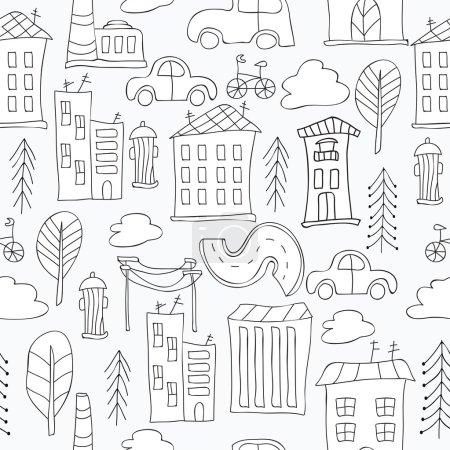 Illustration pour Fond noir et blanc sans couture avec la ville - image libre de droit