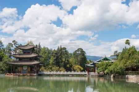 LIJIANG, CHINA - SEP 4 2014: Black Dragon Pool at Old Town of Lijiang. a famous landscape in Lijiang, Yunnan, China.