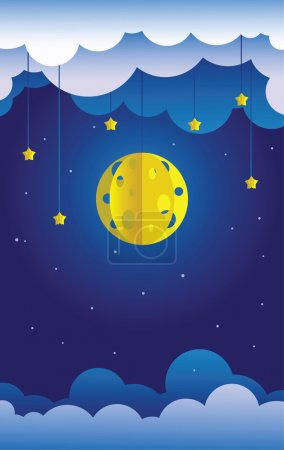 Illustration for Sky paper decoration. Little paper theater: hanged moon, stars and clouds. - Royalty Free Image
