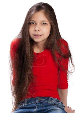 Beautiful teen girl isolated
