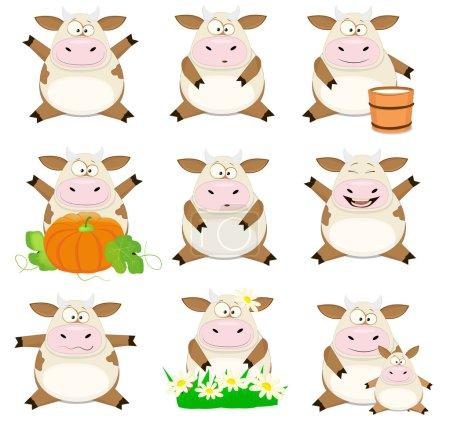 Set of Nice vector cartoon cows