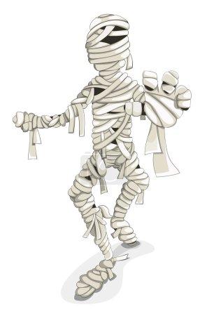 Cartoon vector walking mummy isolated on white...