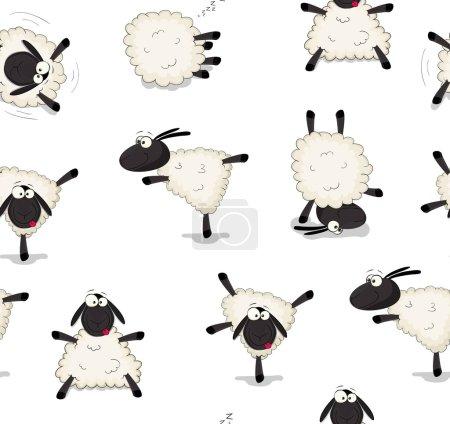 Illustration pour Bel ensemble de vecteur dessin animé moutons fond - image libre de droit