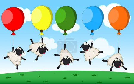 Illustration for Vector birthday card with cute cartoon sheeps and balloons - Royalty Free Image