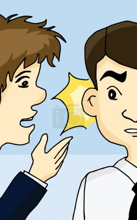 Illustration for Guy whispering into man's ear telling about something - Royalty Free Image