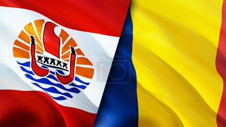 French Polynesia and Chad flags. 3D Waving flag design. French Polynesia Chad flag, picture, wallpaper. French Polynesia vs Chad image,3D rendering. French Polynesia Chad relations alliance an