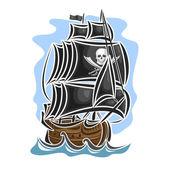 Vector logo pirate sailing ship sailboat sailer vessel sailing barque craft frigate caravel galleon schooner floating blue sea ocean waves Cartoon pirate sailing old vessel Jolly Roger