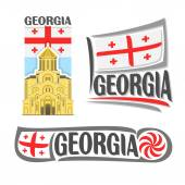 Vector logo for Georgia consisting of 3 isolated illustrations: Holy Trinity Cathedral of Tbilisi on background of national state flag symbol of Georgia and georgian flag beside borjgali close-up