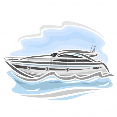 Illustration for Vector illustration of logo for speed boat powerboat, consisting of racing motorboat, floating on the ocean sea waves, luxury expensive sport  motor longboat close-up on blue background - Royalty Free Image