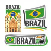 Vector logo Brazil3 isolated illustrations: Church of Saint Francis in Salvador Bahia on background of national state flag brazilian flag of Federative Republic of Brazil beside bird toucan close-up
