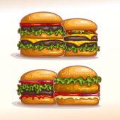 Vector logo set burgers for showcase display