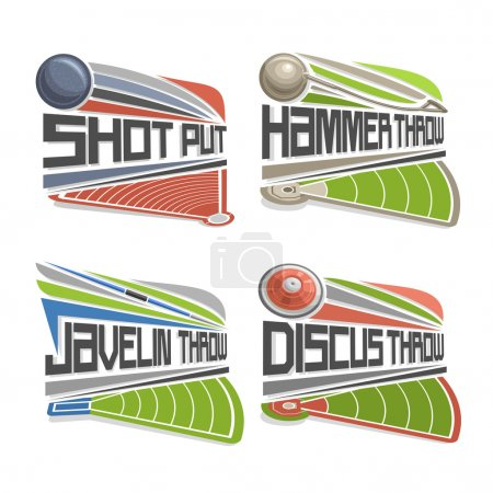 Illustration for Vector logo for Athletics Field, consisting of abstract discus throw, shot put, throwing hammer, javelin. Track and field stadium equipment for atletica championship summer games arena - Royalty Free Image