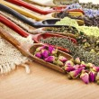 Assortment of dry tea addition in spoon scoops clo...