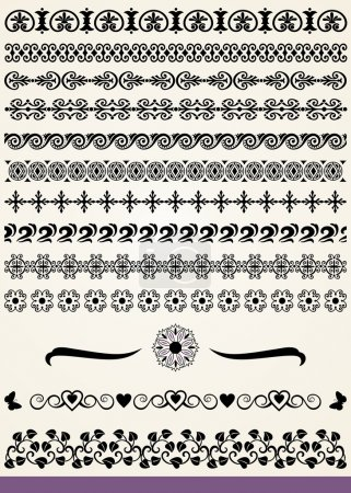 Illustration for Collection of borders and dividers design elements - Royalty Free Image