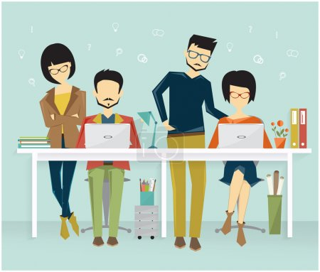 Illustration pour Coworking, teamworking concept, advertising agency work process. people at office workplace - image libre de droit