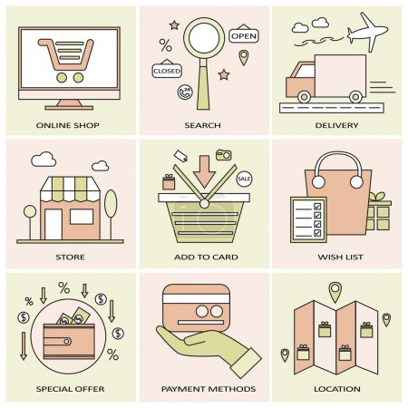 Illustration for Flat line icons for online shopping. vector - Royalty Free Image