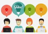 People with speech bubbles and laptop social network idea teamwork banner and infographics