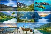 Norway landscapes, fjords, collage travel