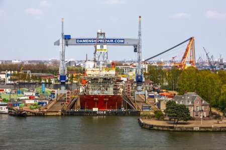 ROTTERDAM, NETHERLANDS - JUN 3, 2016: Ship repair dock in sea port Rotterdam, Netherlands