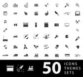A large set of unique icons for design and modern technology of various themes: gestures people transport hobby equipment computer tool media