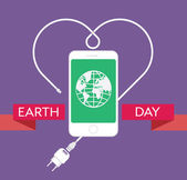 Earth Day Celebration Poster Design Template with modern mobile phone with charger cable power supply unit and an illustration of the earth Editable vector illustration EPS10 and large jpg