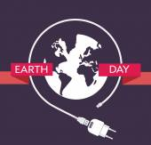 Earth Day Celebration Poster Design Template with  charger cable power supply unit and an illustration of the earth Editable vector illustration EPS10 and large jpg