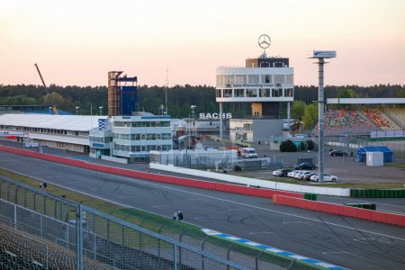 Photo for Hockenheim, Germany - April 22, 2014: Racetrack named Hockenheimring - view of the infield with race tower, pit lane, and start / finish straight line - Royalty Free Image