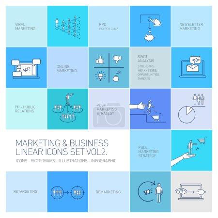 Illustration pour Marketing vectoriel et icônes d'affaires définir le volume deux dessin plat illustration linéaire et infographie isolé sur fond bleu coloré - image libre de droit