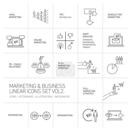 Illustration pour Marketing vectoriel et icônes d'affaires mis volume deux dessin plat illustration linéaire et infographie noir isolé sur fond blanc - image libre de droit