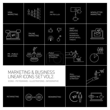 Illustration pour Marketing vectoriel et icônes d'affaires mis volume deux dessin plat illustration linéaire et infographie blanc isolé sur fond noir - image libre de droit