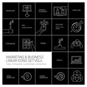 Marketing and business icons set volume four   flat design linear illustration and infographic white isolated on black background