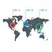 Konceptuální infographic celosvětové orientační mapa