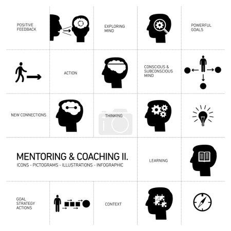 Illustration pour Vector mentoring and coaching soft skills icons set modern flat design noir ilustrations infographie isolée sur fond blanc - image libre de droit