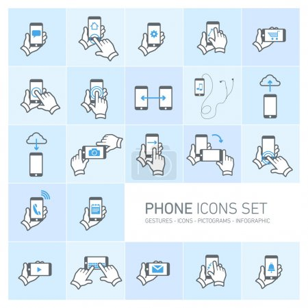 Ilustración de Vector phone icons set with gestures and pictograms flat design infographic grey on blue background - Imagen libre de derechos