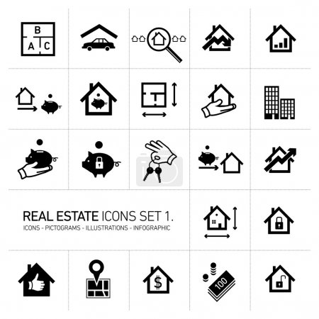 vector real estate icons set