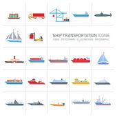 ship transportation icons set