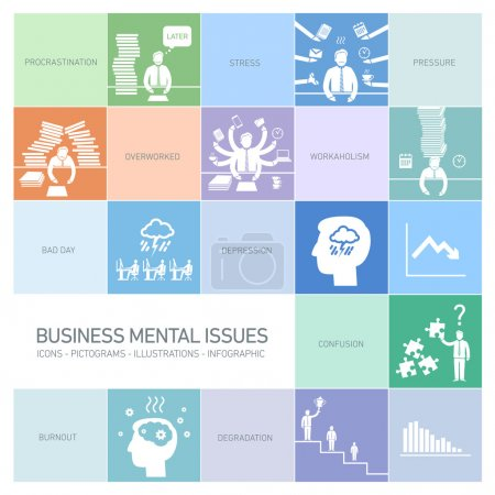 Mental issues icons set