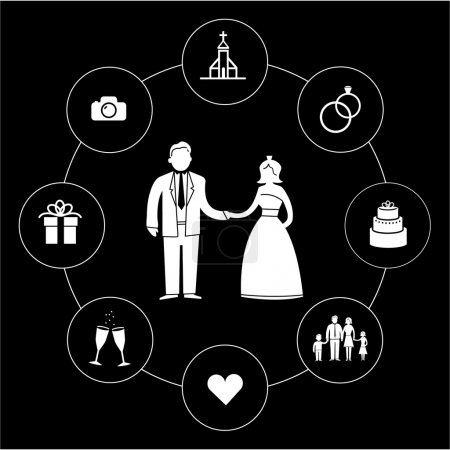 Illustration for Vector wedding romantic icon and pictogram set flat design infographic square template white on black background - Royalty Free Image