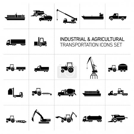 Industrial and agricultural icons set