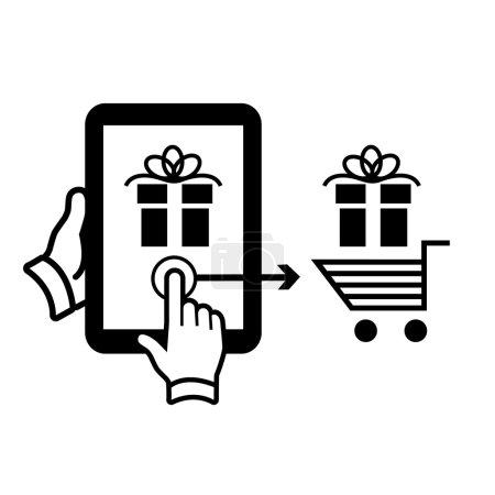 Illustration pour Vecteur achats en ligne et tablette ecommerceon avec un doigt glisser geste déplacement cadeau au panier noir plat pictogramme design isolé sur fond blanc - image libre de droit