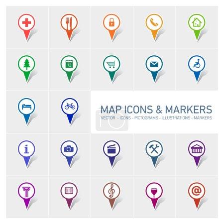 Illustration pour Ensemble d'icônes et de marqueurs de carte vectorielle - image libre de droit