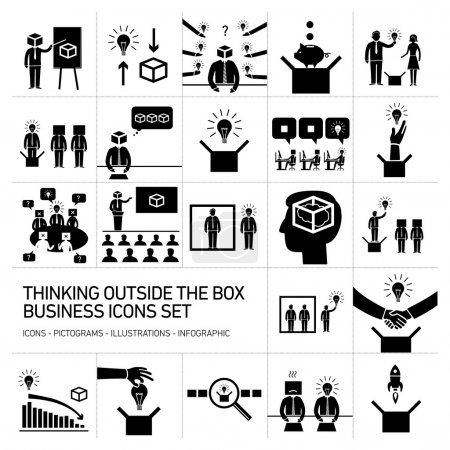 Box vector business icons set
