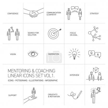 mentoring and coaching linear icons