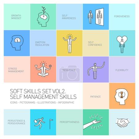 Illustration pour Autogestion soft skills vecteur icônes linéaires et pictogrammes mis en noir sur fond coloré - image libre de droit