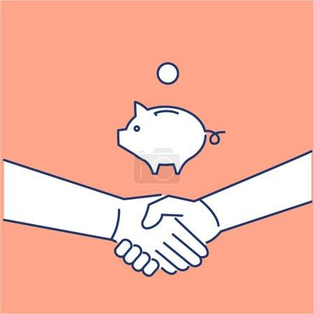 Icon of handshake and piggy moneybank