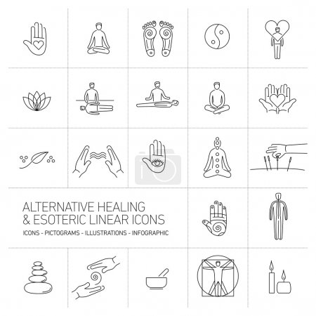 Illustration for Alternative healing and esoteric linear icons set black on white background flat design illustration and infographic - Royalty Free Image