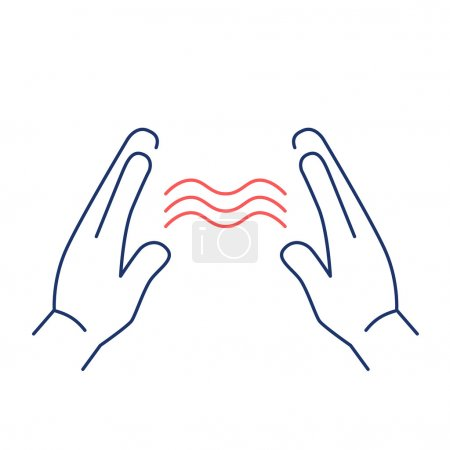 Illustration for Energy flowing between healings hands red and blue linear icon on white background flat design alternative healing illustration and infographic - Royalty Free Image