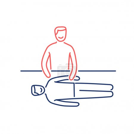 Illustration for Man energetic healing other man on massage table red and blue linear icon on white background  flat design alternative healing illustration and infographic - Royalty Free Image