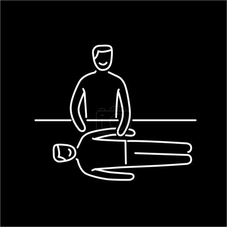 Illustration for Man energetic healing other man on massage table black linear icon on white background  flat design alternative healing illustration and infographic - Royalty Free Image