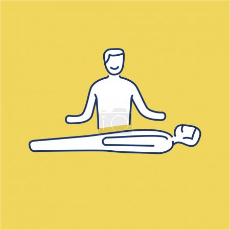 Illustration for Man healing other man on massage table white linear icon on yellow background flat design alternative healing illustration and infographic - Royalty Free Image